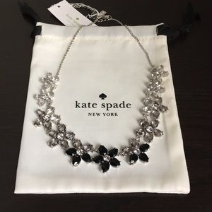 Kate Spade Bed of Roses Black Glass Stone Necklace